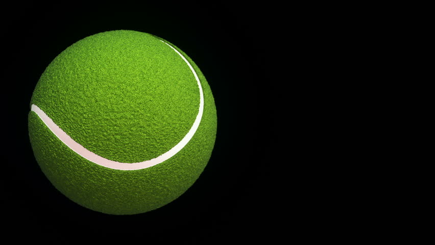 Animation of slow rotation ball for tennis game. View of close-up with realistic texture and light. Animation of seamless loop.