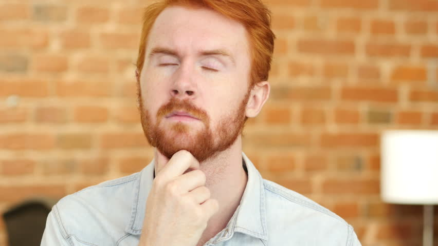 Young Man Thinking, Wondering, Close-up | Shutterstock HD Video #17965732
