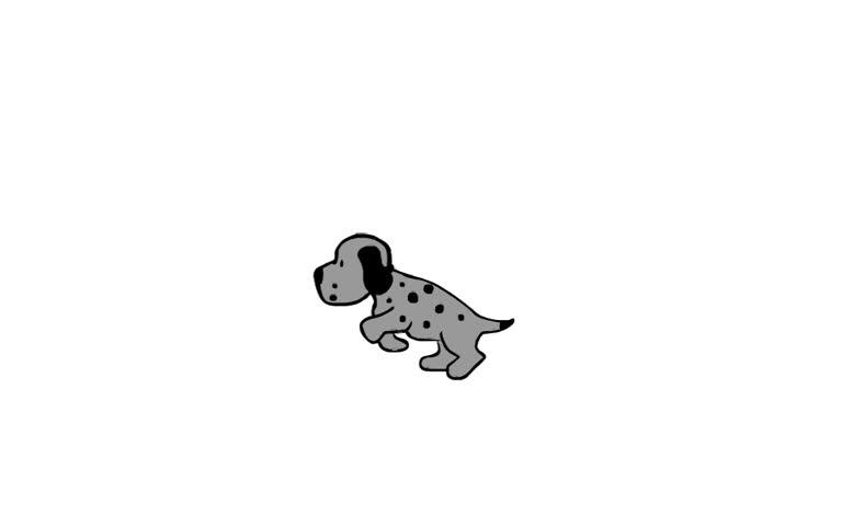 Funny running dog, cartoon loop animation
