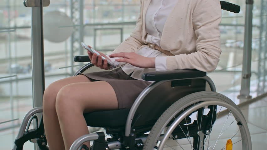 Young Woman On Wheelchair In Stock Footage Photo