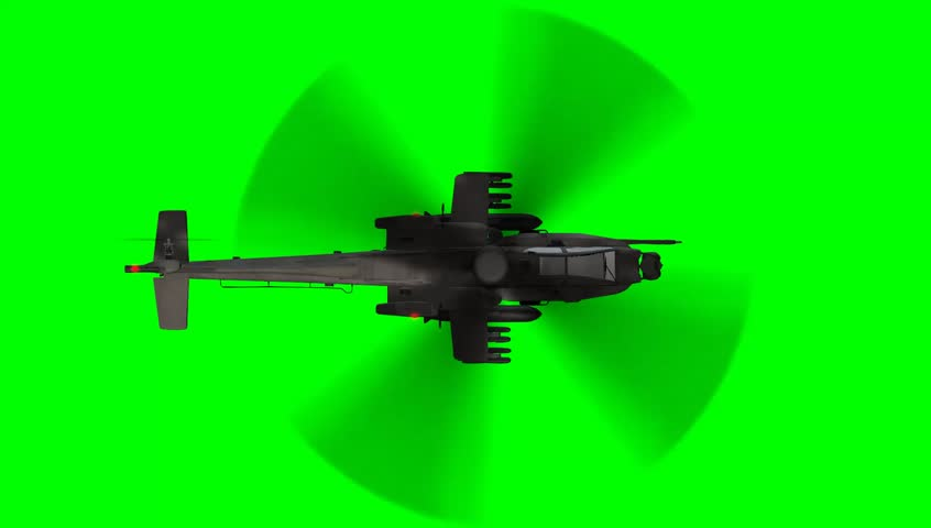 fully armed army Apache attack helicopter in flight - green screen