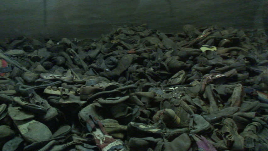 AUSCHWITZ, POLAND - CIRCA 2010: Shoes that were taken from the victims at Auschwitz-Birkenau Concentration Camp