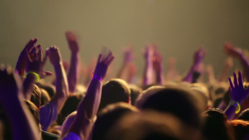 Many people at rave party, view from behind, hand and heads | Shutterstock HD Video #1802273