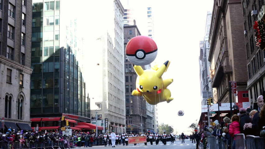 NEW YORK CITY, NY - NOVEMBER 24: Pokemon Pikachu balloon during the Macy's 85th Annual Thanksgiving Day Parade on November 24, 2011 in New York City, New York.