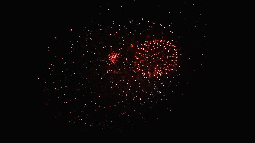 Close-up shot of fireworks celebrations with real sound on dark sky background. | Shutterstock HD Video #18052393
