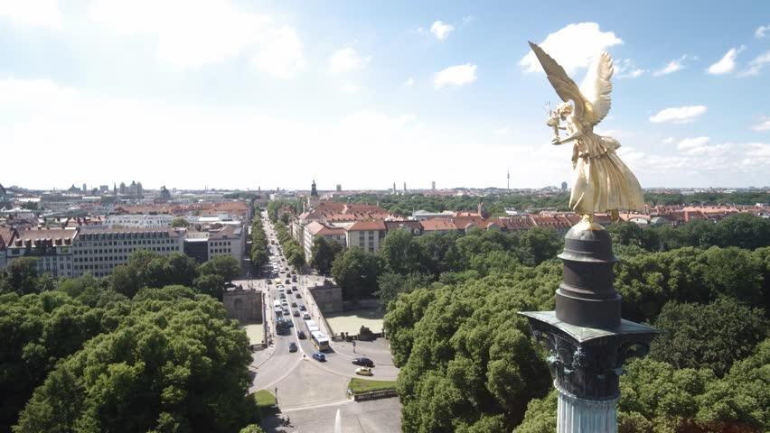 MUNICH, GERMANY - JUNI 28, 2016: Munich Angel of Peace aerial shoot in 4K.  Stock Aerial footage of Munich. | Shutterstock HD Video #18053479