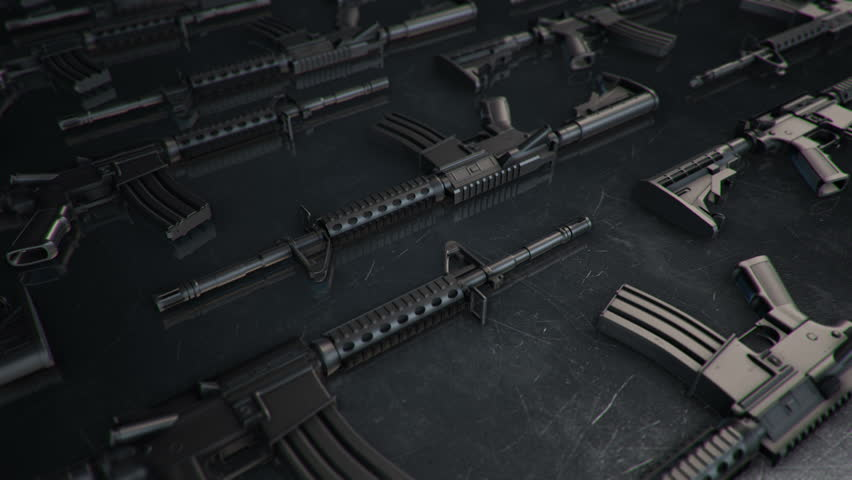 Animation of slow moving different firearms. Weapons: rifles, semi-automatic guns, machine guns. Animation of seamless loop.