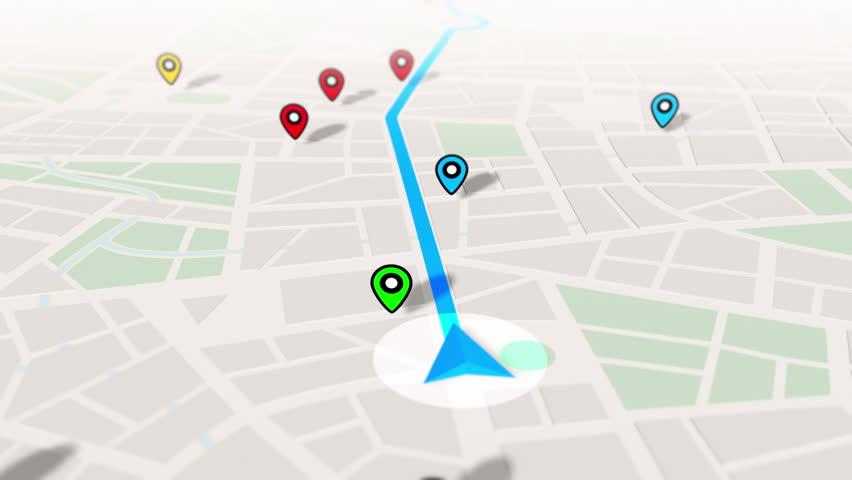 GPS Navigation, Localization. Seamless loop. 3D view. 4k, Ultra HD, UHD. | Shutterstock HD Video #18067525