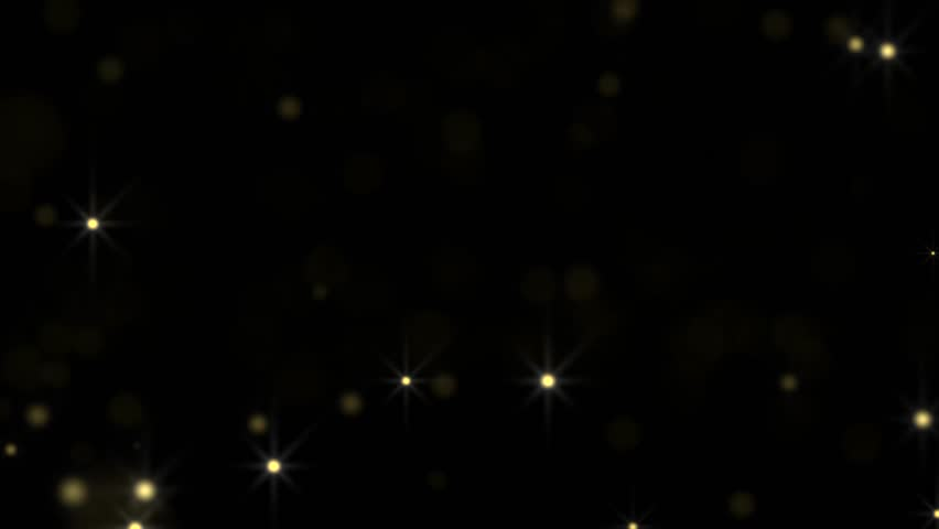 Golden glowing star particle in random direction  3D render abstract background  animation motion graphic with copy space on black background  #18070663