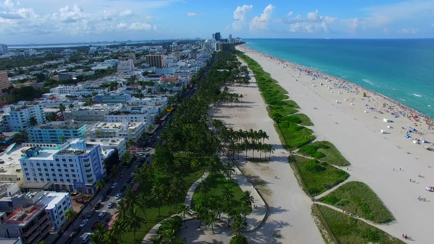 AERIAL - Collins Avenue in Miami - South Beach.
