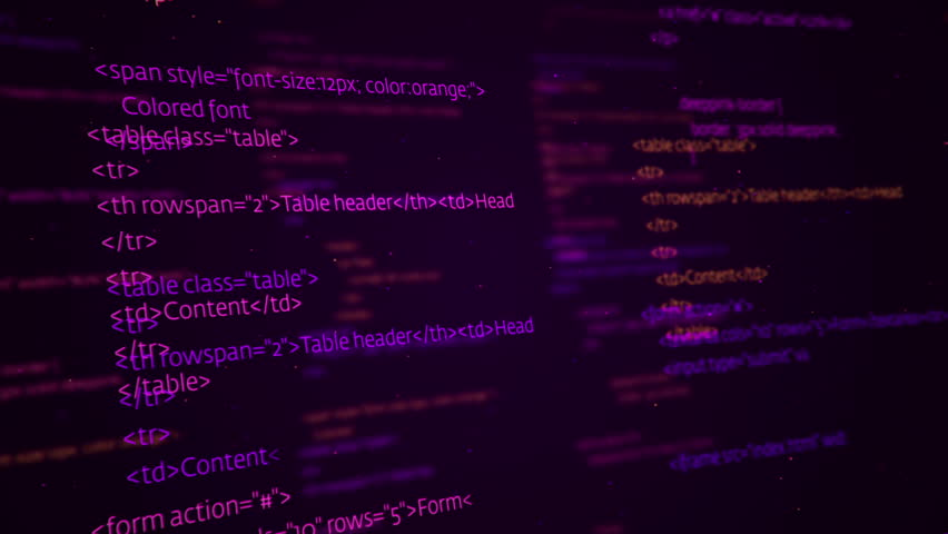 Animation of programming on abstract digital screen. Variety Code languages and colors in my profile: C++, Assembler, Java, Javascript, HTML and CSS. Animation of seamless loop.   Shutterstock HD Video #18075163