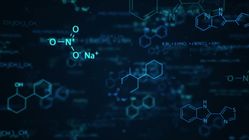 Animation of typing formulas of chemistry in abstract digital space. Animation of seamless loop. Royalty-Free Stock Footage #18087298