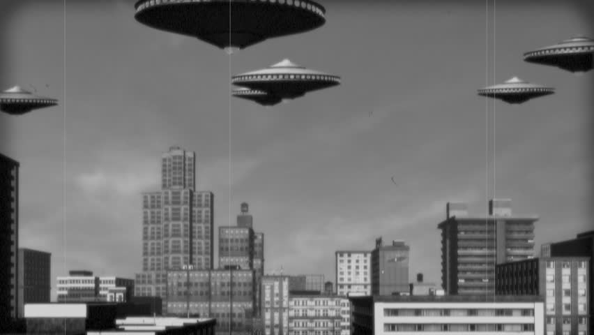 Vintage Alien Invasion: UFO Armada over Downtown. Black and White Version.