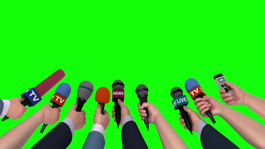 Microphones in the hands of journalists on green background, 3D animation #18105565