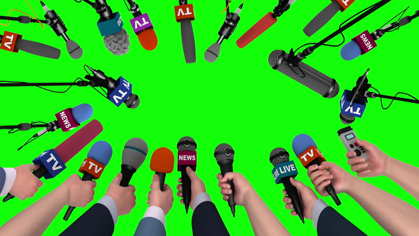 Boom pole microphones and hands with microphones on green, 3D animation #18105568
