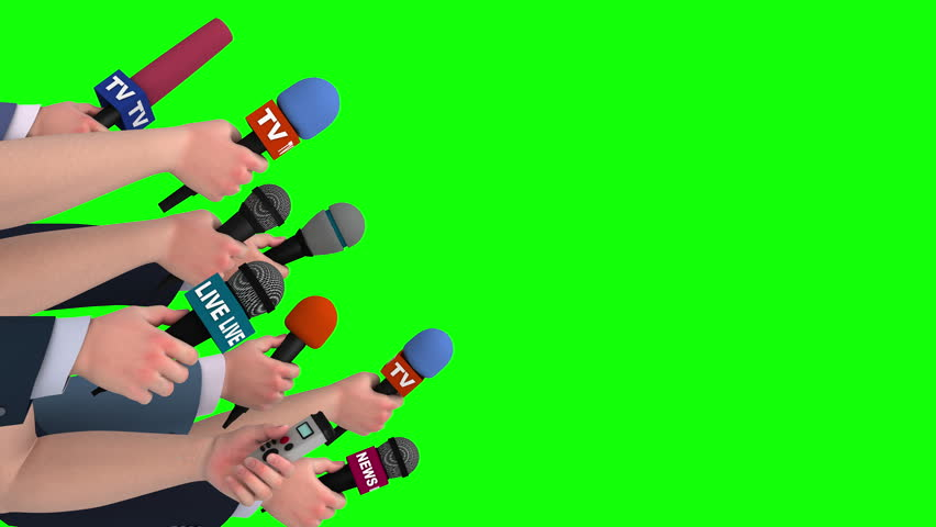 Reporters interview with microphones on green screen, side view, looping, 3D #18105604
