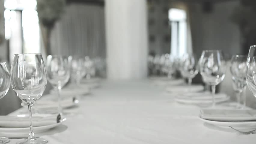 Banquet dinner. Elegant Wedding Table with Glass