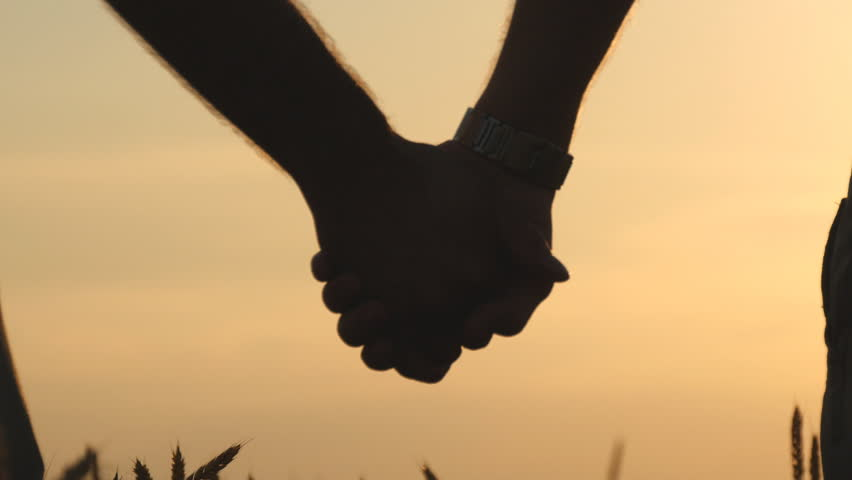 Closeup of gay couple holding hands of each other in wheat field at sunset. The Sun in the Background   Royalty-Free Stock Footage #18127114