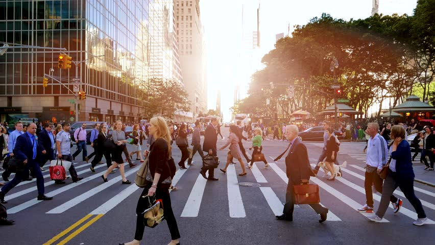 NEW YORK - MAY: 2016, pedestrians walking on crowded city street. people commuting background #18146785