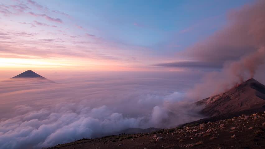 4k Timelapse of active Volcano in Guatemala at Sunrise