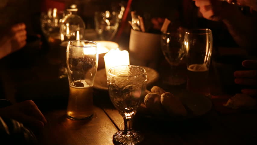 Table in the restaurant. A group of people at a banquet. Table close-up. | Shutterstock HD Video #18181708