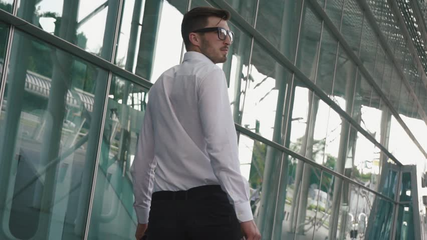 Rear view of handsome businessman with suitcase in modern airport terminal glass wall background. Travelling guy concept #18182185