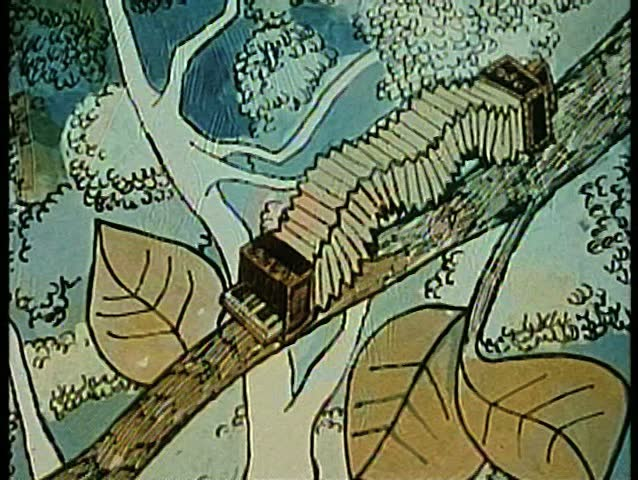 Cartoon of accordian inchworm crawling on tree