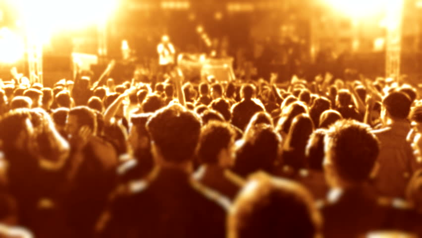 Cheering fans life concert seamless Iconic night rock concert crowd cheering slomo, Night rock concert, People cheer move lift clap their hands unison against strobing stage lights Computer generated #18248524