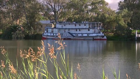 Long shot of a paddle steamer on the river Murray at Mildura in Victoria.
