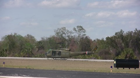 Military helicopter preparing to take off