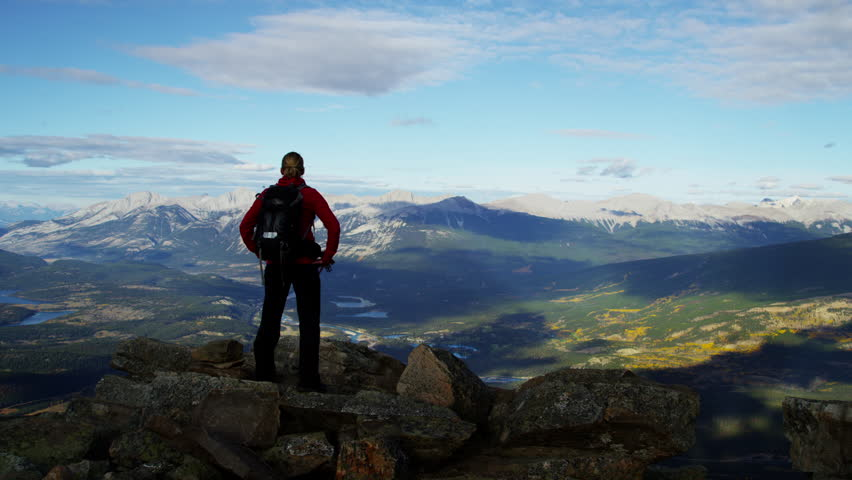 Blonde Caucasian girl in hiking clothing enjoying the National Park view #18304231