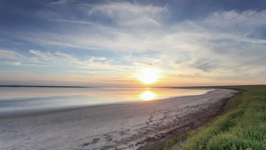 Sunset in the steppe near the salt lake Lopuhovatoe, Rostov region, Russia, (Time Lapse) Full HD  | Shutterstock HD Video #18306271
