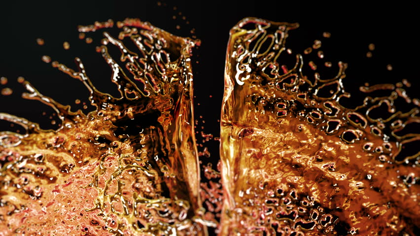 Liquid Splash. Alcohol, Tea, Cola. Super Slow motion.