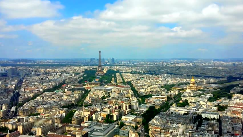 PARIS, FRANCE, Panorama aerial View summer with moving clouds on Eiffel Tower from the Montparnasse tower. HD, time lapse clip | Shutterstock HD Video #18315943