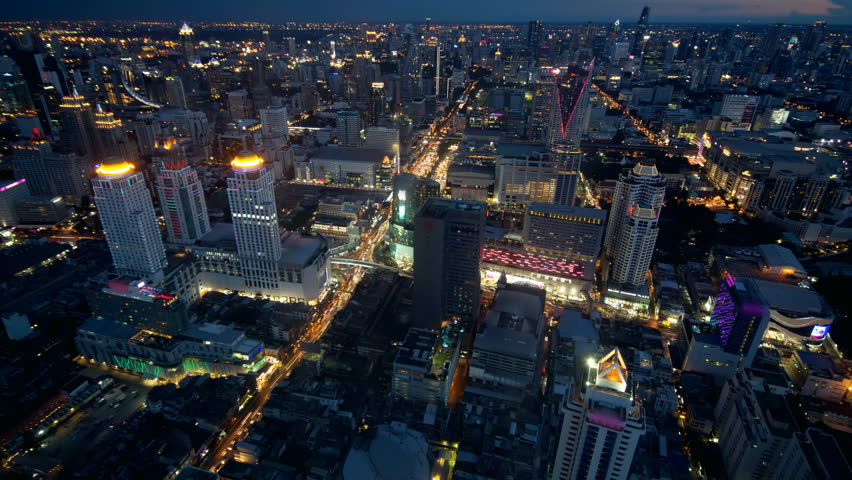 4K: Day to night time lapse, Bangkok city aerial view, Thailand | Shutterstock HD Video #18346216