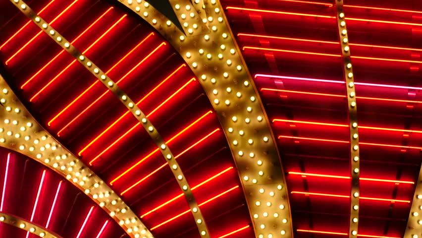 Red Neon Las Vegas Casino Sign at Night - Las Vegas Strip - Circa July 2016