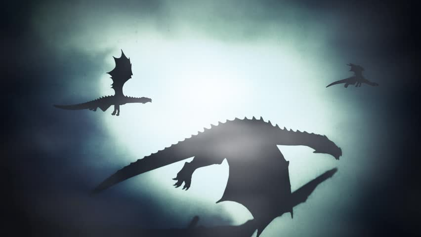 Group of Dragons Flying in a Winter Sky Against the Wind