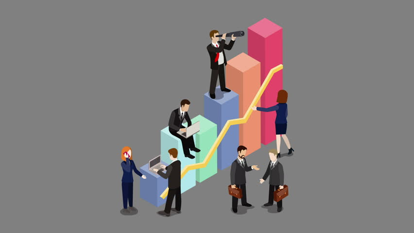 Growing Business looped animated concept with alpha. Businessmen working to charts grow up flat 3d isometric cartoon 4K video.