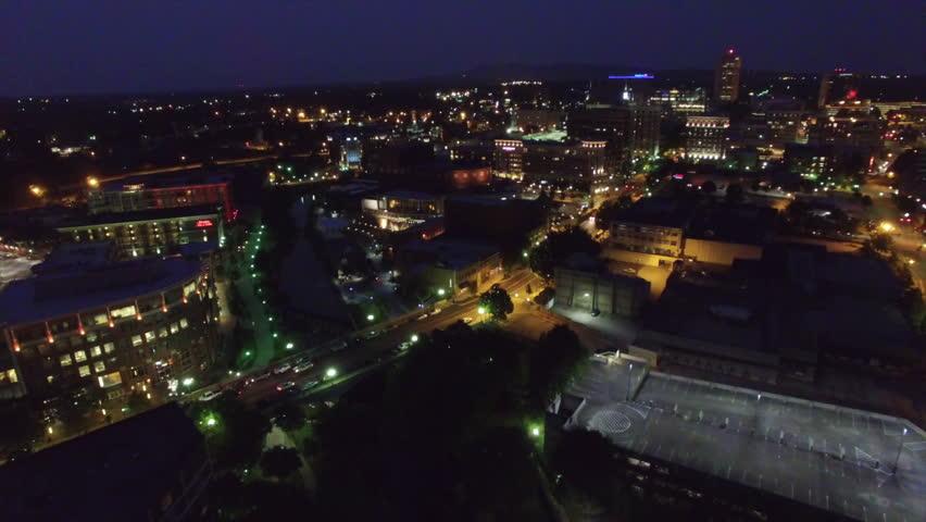 Night aerial flying over Greenville South Carolina   Shutterstock HD Video #18400003