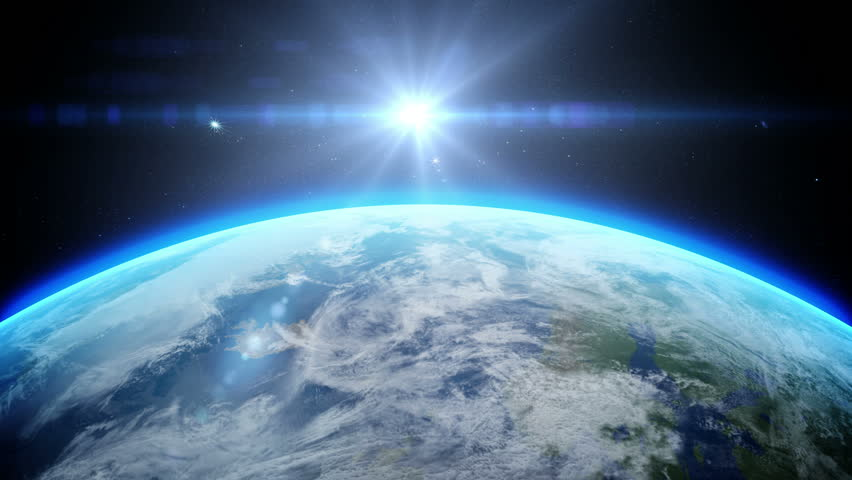 Sunrise over earth as seen from space. With stars background. 3d realistic animation #18406072