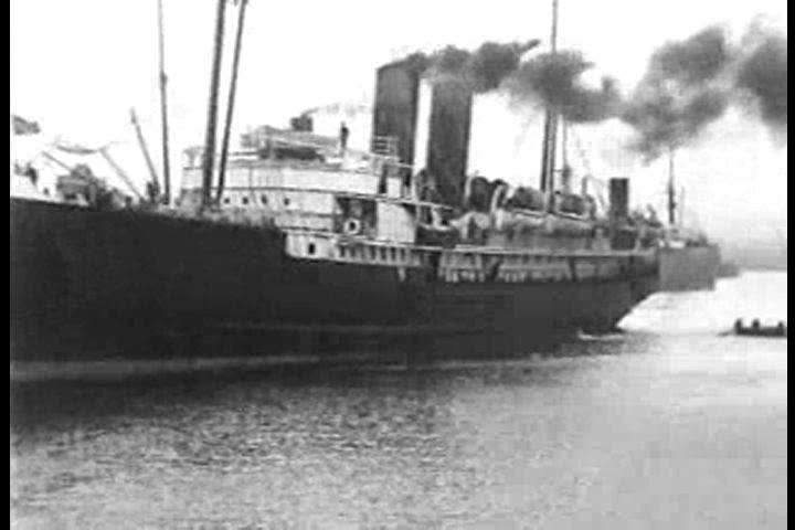 Steamers cruise and spew smoke along Melbourne\xEAs port, Australia in 1910. (1910s)