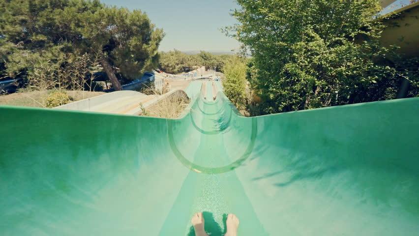 Water slide at Aqua Park. POV.