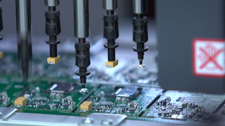 Electronic circuit board production. Automated Circut Board machine Produces Printed digital electronic board. Robotic production of printed Circut Board. Producing Printed Circut Board. Royalty-Free Stock Footage #18465193