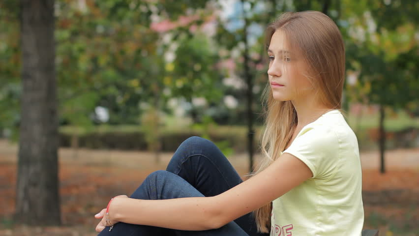 Sad Little Girl stock photo. Image of model, casual, small