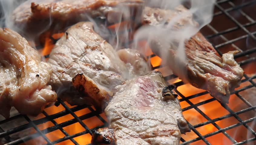 Cooking barbecue steak on the hot grill in camping time, high definition, Full HD, 1920x1080   Shutterstock HD Video #18530732