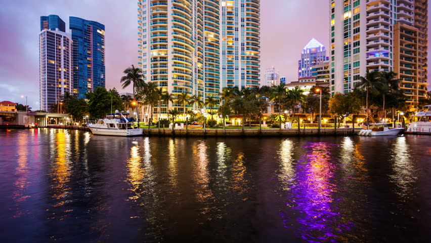 Fort Lauderdale, Florida Skyline at Night on New River - Time Lapse   Shutterstock HD Video #18535433