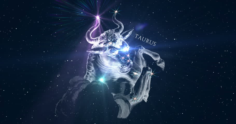 Taurus. Zodiac sign. Horoscope. Space flight through the constellation. The constellation image of Hevelius engraving from the 17th century. Animation in two versions: with and without inscription. | Shutterstock HD Video #18541139