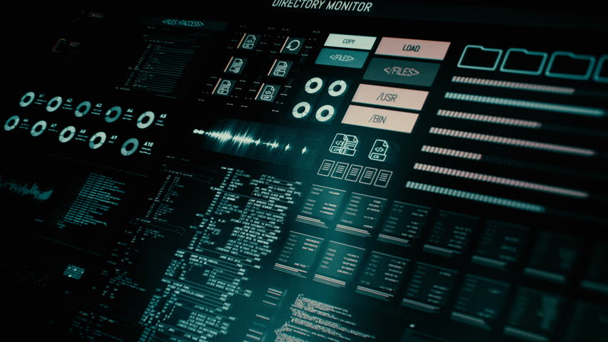 Futuristic digital interface screen / Streaming and flashing computer interface with data on it / Command center Royalty-Free Stock Footage #18557732