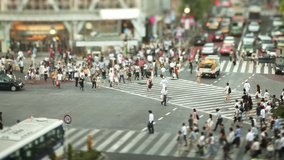 Thousands of people walk across the famous Shibuya Crossing in Tokyo Japan