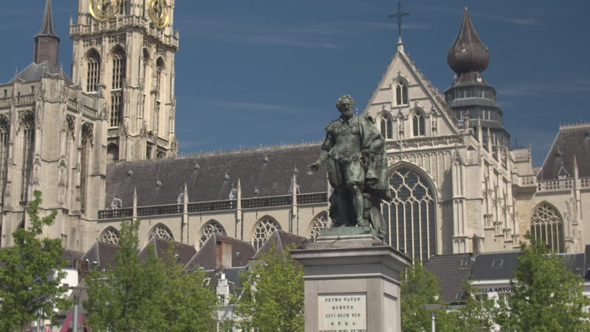 CLOSE UP: Baroque painter Petro Paulo Rubens statue on famous historic